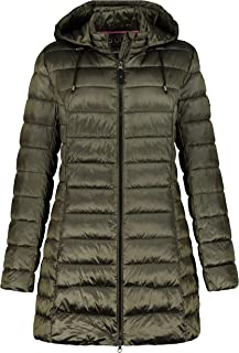 GINA LAURA 女士绗缝夹克,长款兜帽,细光度 723462