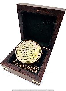 KRAFTBAZAR 雕刻指南针 带木盒约书亚 1 9 雕刻礼物、确认礼品创意、洗礼礼物、传教士礼物、生日礼物。