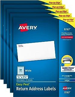 Avery Mailing Address Labels,喷墨打印机,1/2 x 1-3/4,永久粘合剂,易于剥离 10,000 labels 白色