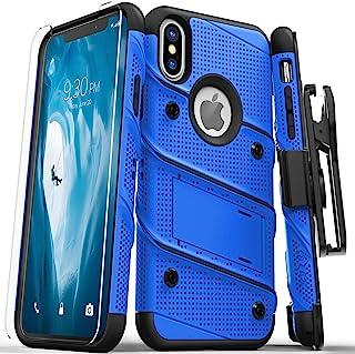 Zizo Apple iPhone X手机保护套,军事级别带玻璃显示屏、支架和皮套BOLT-IPH8-BLBK 0
