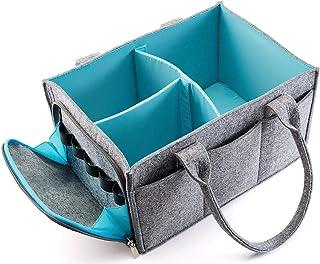 Mollieollie 高级婴儿尿布盒收纳盒 | 便携式育儿储物盒 | 计划盒 | 汽车座椅手提包带拉链口袋和 5 毫米加厚毛毡(灰色/蓝*)