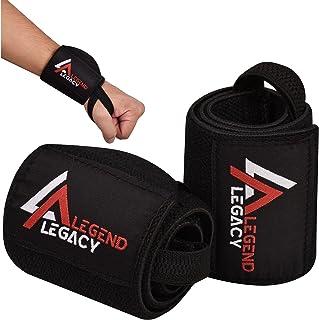 Legend Legacy 举重带(一对)重型护腕 - 18 英寸(约 45.7 厘米)可调节护腕带,带拇指环支撑,适合健身房锻炼、交叉健身、举重、举重、举重和力量训练