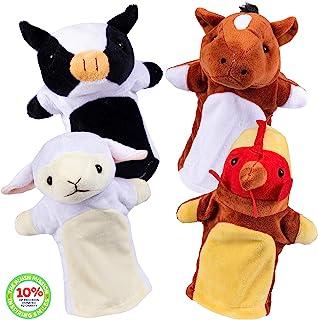 Plush Creations Barn Friends 手偶木偶套装(4 个手偶)送给女孩和男孩的*礼物 - 适合 2、3、4、5 和 6 岁儿童