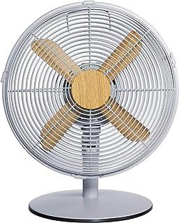 Russell Hobbs RHMDF1201WDG 12 英寸(约 30.5 厘米)斯堪迪电动办公桌风扇,3 档速度设置,振荡风扇和可调节倾斜,45W,灰色和木材效果