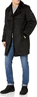 DKNY 男式羊皮散步大衣,人造毛皮领