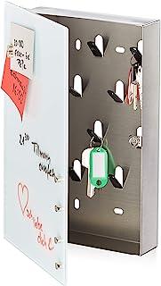Relaxdays 钥匙盒 带玻璃磁性板 30 × 20 厘米 10 个挂钩 6 个磁铁 可书写钥匙板 白色 银色 30 × 20 厘米