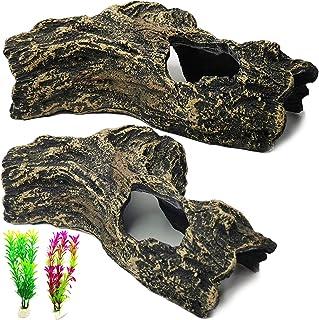 PINVNBY 树脂水族箱后备箱装饰空心鱼缸装饰洞穴贝塔藏身屋洞人工水生植物适用于小鱼蜥蜴乌龟爬行动物 4 件