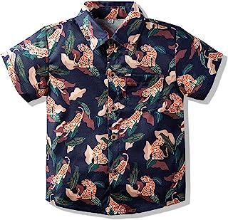 男婴系扣衬衫夏威夷卡通印花修身短袖酷炫衬衫可爱儿童上衣