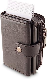 RFID 屏蔽钱包 | 真牛皮 | 铝壳 信用卡包 | 弹出式卡弹出器 | 超薄设计 带钞票和零钱袋 | 一个完整的钱包 Wallet | Stellar | Black Wallet | Stellar