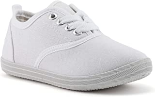 Girls Canvas Sneakers: Casual Lace-Up Tennis Shoes, Toddler & Little Kid Sizes