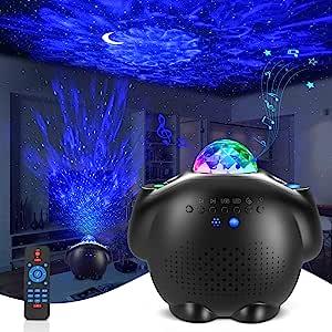 儿童星形投影灯 4 合 1 LED Galaxy 灯投影机带月亮和星星,海洋波浪投影机带蓝牙音乐扬声器,语音控制,遥控器,卧室灯投影仪