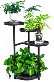 4 层架子金属植物支架花架花园装饰展示架 23.6 英寸(约 59.9 厘米)铁质花盆支架适用于户外室内(黑色)