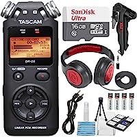 Tascam DR-05(版本 2)便携式手持数字音频录音机(黑色)带豪华配件包