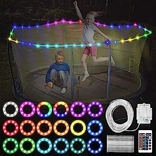 JUUMVIR LED 蹦床灯,遥控蹦床边缘 LED 灯 1 卷 39.4 英尺 100 个 LED 4 种模式,16 种颜色变化防水 LED 灯可在夜间户外玩耍