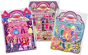 Melissa & Doug 蓬起贴纸 活动画册套装:装饰,公主,美人鱼等-208个可重复使用的贴纸