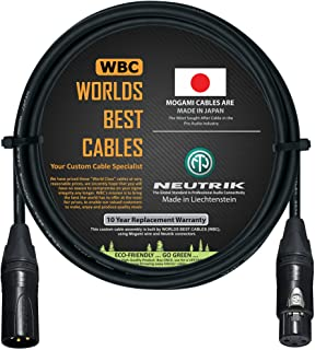6 英尺 - 由WORLDS BEST CABLES 定制的四重平衡麦克风电缆 - 使用 Mogami 2534 线和 Neutrik NC3MXX-B 公头和 NC3FXX-B 母头 XLR 插头。