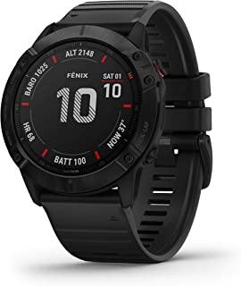 Garmin 佳明 fenix 6X PRO-具有体育应用程序的GPS多运动智能手表,腕上1.4英寸的显示和心率测量。音乐播放器,地图,WiFi和Garmin Pay。防水能力高达10 ATM,电池续航时间长达21天,Black with Bl...