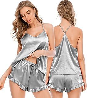 ECHOINE 女式性感睡衣套装 - 背部交叉喇叭缎睡衣套装睡衣吊带短裤套装睡衣 S-XXL 码