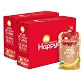 Happy Baby Organic 透明小袋装 2阶 婴儿食品 香蕉,覆盆子和燕麦,4盎司/113克 袋装(16袋)