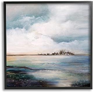 Stupell Industries Mellow Island Landscape Deep Dark Waters Cloudy Sky,Karen Hale 黑色框架墙艺术,灰色
