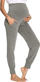 GLAMIX 女式孕妇休闲裤舒适慢跑裤孕妇肚皮运动裤 带口袋
