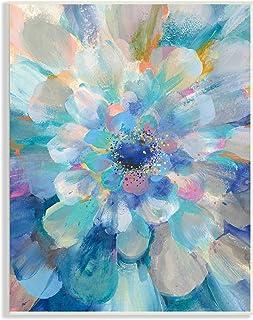 Stupell Industries 抽象分层花卉花瓣中心蓝花,由 Danhui NAI 墙饰设计,13 x 19