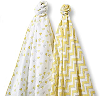 SwaddleDesigns SwaddleDuo Chic Chevron Duo, Yellow, 2 Count