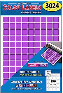3024 件装,0.65 英寸(约 1.9 厘米)方形颜色编码点标签,亮紫色色,8.5 英寸(约 21.4 厘米) x 11 英寸(约 21.9 厘米)纸,适用于所有激光/喷墨打印机,0.75 英寸(约 1.9 厘米)
