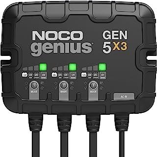 NOCO Genius GEN5X3,3-Bank,15 Amp(每组 5 安培)全自动智能船用充电器,12V 车载电池充电器,电池维护器和电池脱流器,带温度补偿