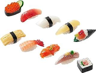 寿司钥匙扣(10 套:三文鱼籽、鱼鳞、乌贼、鲱鱼鱼、牛油果手卷、鸡蛋、冷水虾、冲浪蛤蜊、马鲭鱼、*卷)适用于包包、钥匙、袋/日本制造/ 20 种