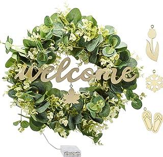 四季前门花环 - 室外前门的秋季花环,带有桉树绿花环和可互换的迎宾标志 适用于*花环农舍或全年前门的花环