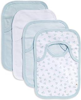 Burt's Bees Baby - 围嘴,4件装搭肩口水巾,* *棉,带有吸水绒布背衬 天蓝色 4件装