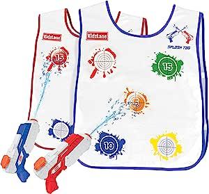 Kidzlane Splash Tag   喷枪和背心游戏,适合 3 岁以上儿童  溅射和揭示分数   2 件套水枪和背心