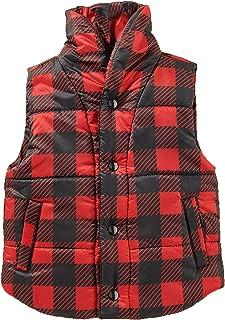 Cartwheels 幼儿水牛格子棉背心,黑色和红色格子印花背心