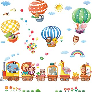 DECOWALL DS-8006P8024 动物火车和热气球儿童墙贴墙贴即剥即贴可移除墙贴适用于儿童育儿卧室客厅(小号)