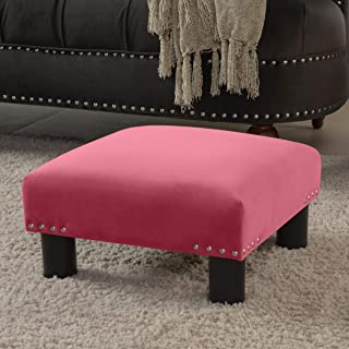 Jennifer Taylor Home Jules 方形脚凳凳凳凳,石榴石玫瑰