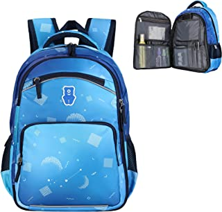 Sarhlio 儿童背包 15 英寸适合男孩和女孩,带几何爱心和月亮图案 月亮*蓝