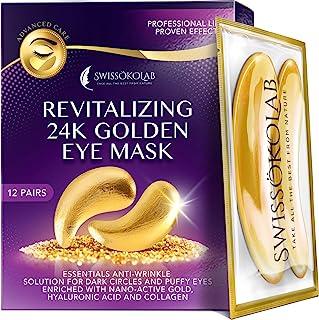 Under Eye Patchches For Puffy Eyes 24k 金眼罩,适用于黑眼圈和浮肿胶原蛋白眼凝胶垫保湿和减少皱纹,*透明质酸
