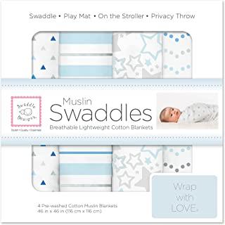 SwaddleDesigns 棉布襁褓毯子 4件套 蓝色星光闪烁样式(深受父母喜爱)