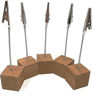 Rusoji 5 件轻质木制立方体底座迷你备忘录支架,带鳄鱼夹,用于名片、照片、纸笔记、信息、明信片、名片(深棕色)