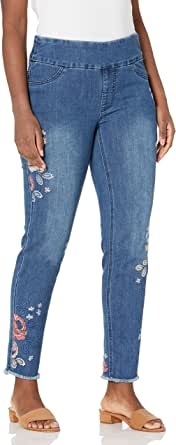 SLIM-SATION 女式套穿式压花流苏下摆纯色及踝牛仔裤,带前后口袋