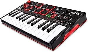 Akai 专业 MPK Mini Play - 独立迷你键盘 & USB 控制器,带内置扬声器,MPC 风格垫,板载效果,128 个工具,10 个鼓音和软件套件