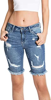 Cello Jeans 女式青少年高腰仿旧牛仔短裤
