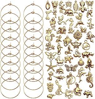 葡萄酒玻璃坠饰,50 件金酒坠饰散装葡萄酒玻璃吊坠动物标签标记挂坠,用于品酒派对装饰用品