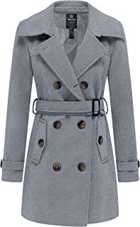 Wantdo Women's Double Breasted Woolen Pea Coat with Belt