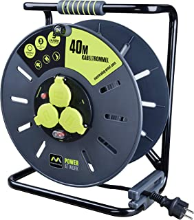 Masterplug Pro-XT 电线鼓 延长线 带 3 个 IP44 插座 绕曲柄,热保护和电源开关 40 米橡胶电缆