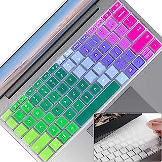 2 件笔记本电脑键盘保护套,适用于 Microsoft 微软 Surface 笔记本电脑 Go 12.4 英寸(2020),超薄透明软触摸键盘膜,Surface 笔记本电脑 Go (2020) 配件,美式布局,彩虹 + 透明