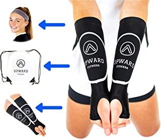 Upward Fitness - 女孩和男孩排球臂套 - 包装优惠 - 保护手臂免受刺痛 - 持续从正确的前臂位置持续地从击球中获得 - 带运动头带和抽绳袋