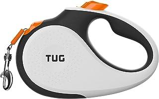 TUG 360° 无缠结,小型可伸缩狗绳,带防滑手柄;4.62m 结实尼龙胶带/丝带;单手制动,暂停,锁定 白色/橙色 小号