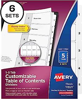 Avery 5 个标签分隔器,适用于 3 环活页夹,可自定义目录,经典白色标签,6 套(11821)
